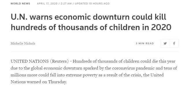 联合国警告:疫情造成的经济下滑可能导致数十万儿童死亡