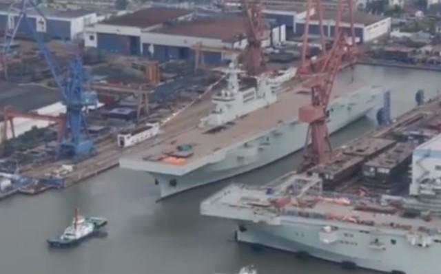 中国第二艘075型两栖攻击舰今日在上海下水  第1张