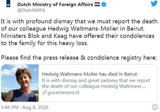 西班牙中国外交部:西班牙驻黎巴嫩大使夫人因发生爆炸不幸身亡