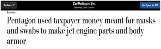 美国媒体爆料:国会给国防部10亿抗疫资金,大部分用于军备建设