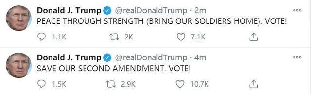 """特朗普早上6点突然刷屏为自己拉票,发了15张""""票!""""  第3张"""