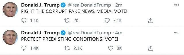 """特朗普早上6点突然刷屏为自己拉票,发了15张""""票!""""  第4张"""