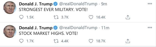 """特朗普早上6点突然刷屏为自己拉票,发了15张""""票!""""  第8张"""