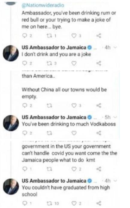 美国驻牙买加大使抹黑华为5G侮辱网友,被炮轰后删除文字  第5张