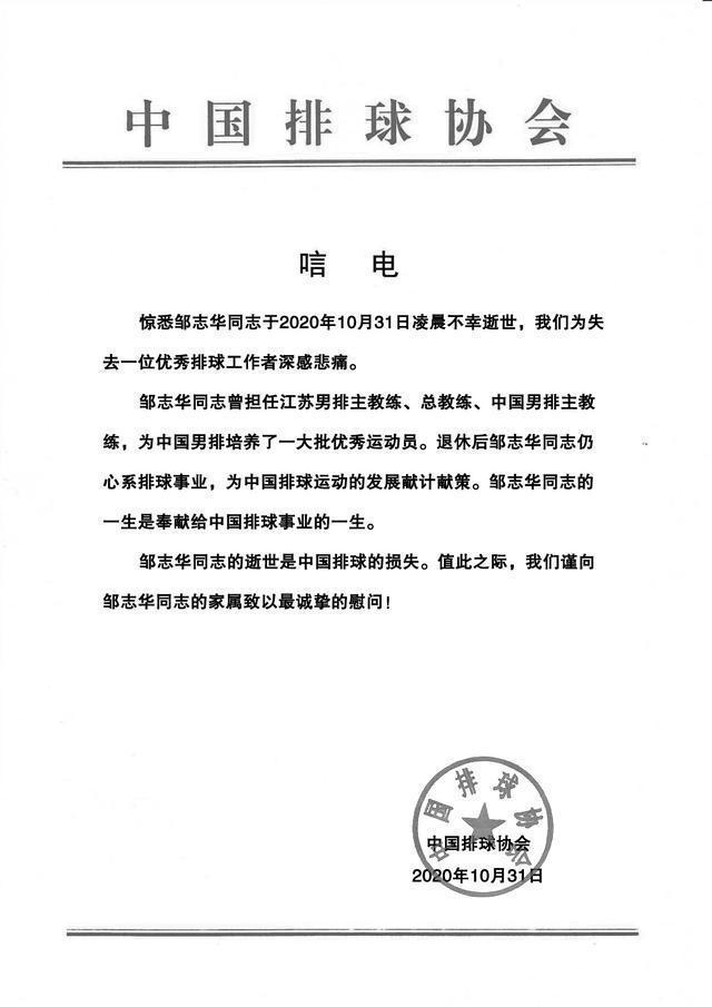 中国男排前主教练邹志华逝世,并发来唁电  第1张