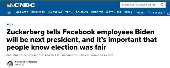 """美国媒体:扎克伯格告诉所有Facebook员工,拜登将成为""""下一任美国总统""""。  第1张"""