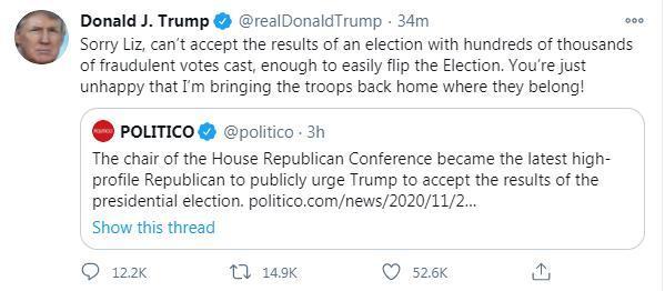 """在共和党人的敦促下""""接受选举结果"""",特朗普回应:对不起,我不能。"""