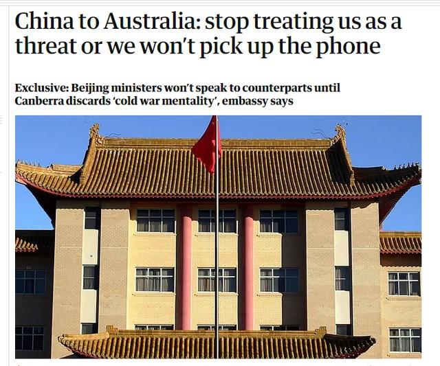 """""""不要把中国当成威胁,否则你不会接电话。"""""""