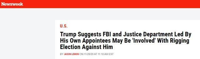 """特朗普指责美国大选是""""骗局"""":司法部和联邦调查局或参与""""操纵选举""""  第1张"""