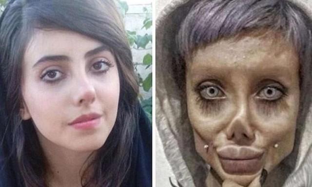 """一名伊朗女子被判10年监禁,并一度释放""""僵尸安吉丽娜""""。  第1张"""